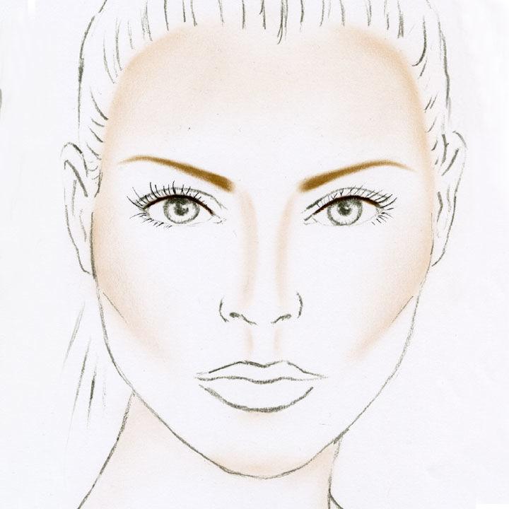 Eine herzförmige Gesichtsform mit einer passenden Augenbrauenform
