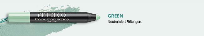 Hier sieht man Color Correcting Stick in der Farbe Grün