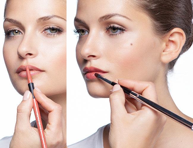 Hier werden der Lip Liner, sowie der Lippenstift aufgetragen