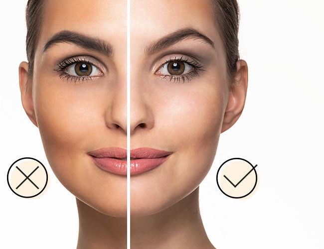 Lidschatten: Eine Gesichtshälfte ist richtig geschminkt, die andere nicht.